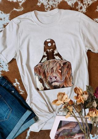 Highland Cow Tag O-Neck T-Shirt Tee - White