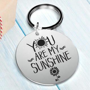 You Are My Sunshine Sunflower Keychain - Silver
