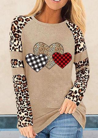 Leopard Plaid Love Heart Long Sleeve Blouse - Khaki