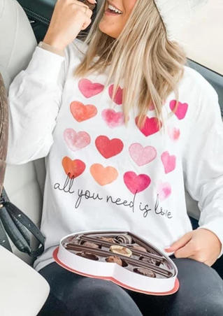 Heart All You Need Is Love Pullover Sweatshirt - White