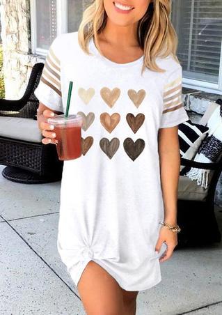 Be Kind Heart Striped Short Sleeve Mini Dress - White