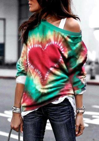 Valentine Tie Dye Love Heart Pullover Sweatshirt