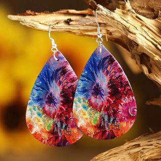 Tie Dye Leather Water Drop Earrings