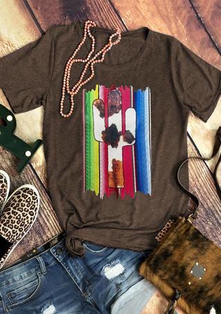 Western Cow Cactus Serape Striped T-Shirt Tee - Coffee