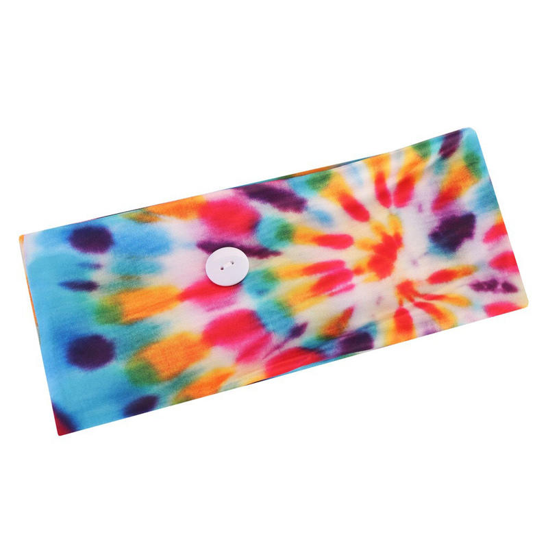 Tie Dye Swirl Button Yoga Sports Wide Headband