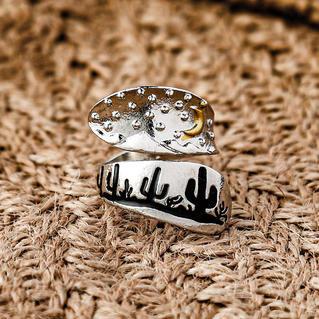Creative Cactus Moon Wrap Alloy Ring