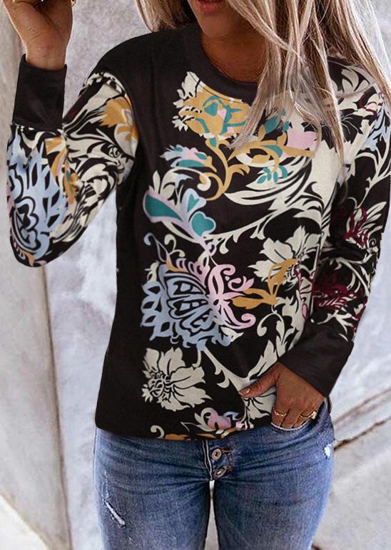 Floral O-Neck Long Sleeve Blouse - Black