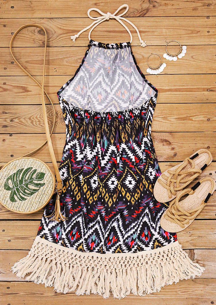 Aztec Geometric Open Back Halter Tassel Edge Mini Dress
