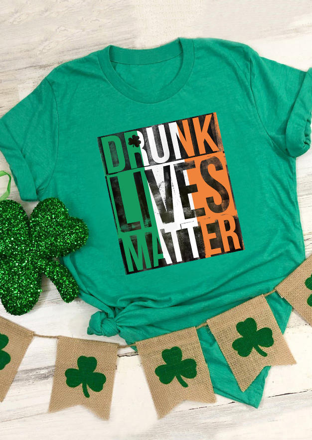 St. Patrick's Day Drunk Lives Matter Irish Flag T-Shirt Tee - Green