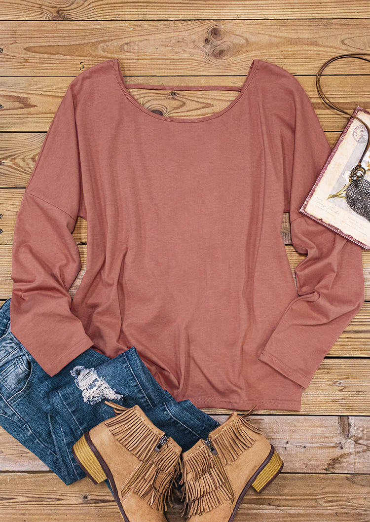 Open Back Drawstring Long Sleeve Blouse - Cameo Brown
