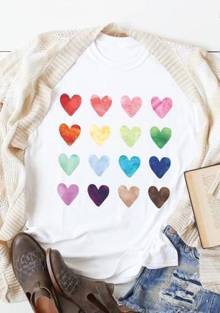 Watercolor Heart O-Neck T-Shirt Tee - White