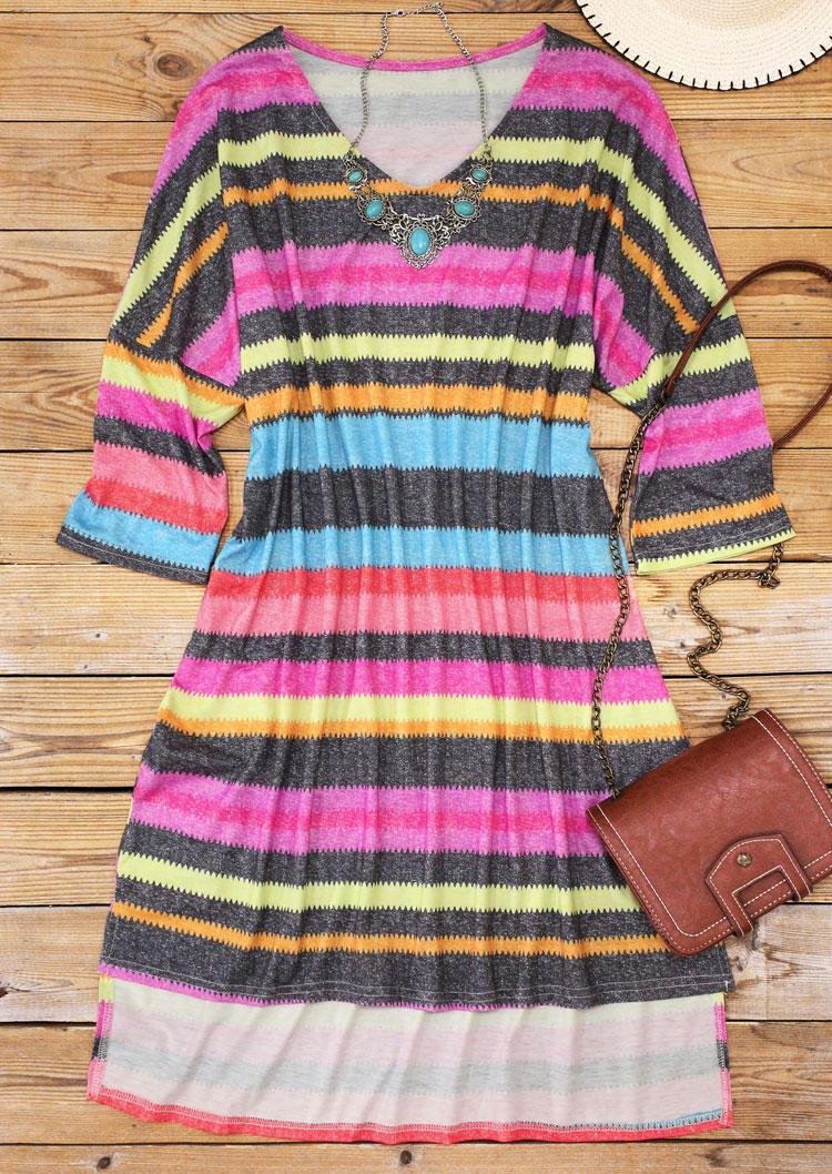 Colorful Striped Asymmetric Drop Shoulder Mini Dress