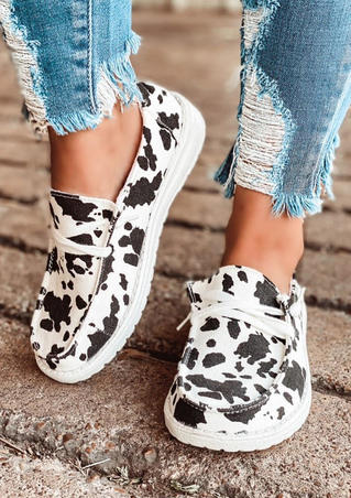 Cow Print Lace Up Round Toe Flat Sneakers