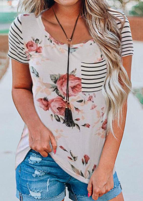 Floral Striped Pocket T-Shirt