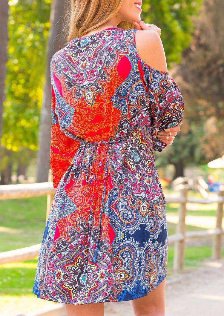 Mandala Cold Shoulder Tie Mini Dress