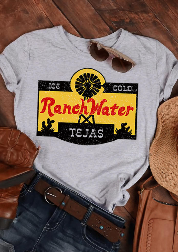 Ice Cold Ranch Water O-Neck T-Shirt Tee - Light Grey