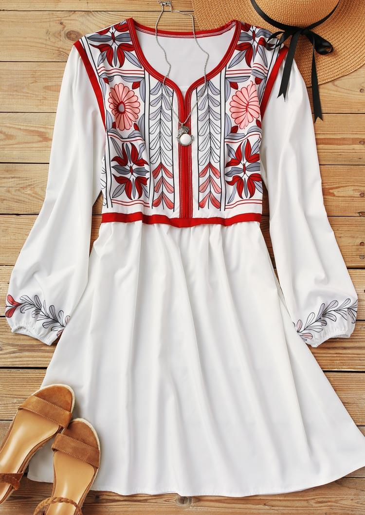 Floral Leaf Elastic Cuff Mini Dress - White