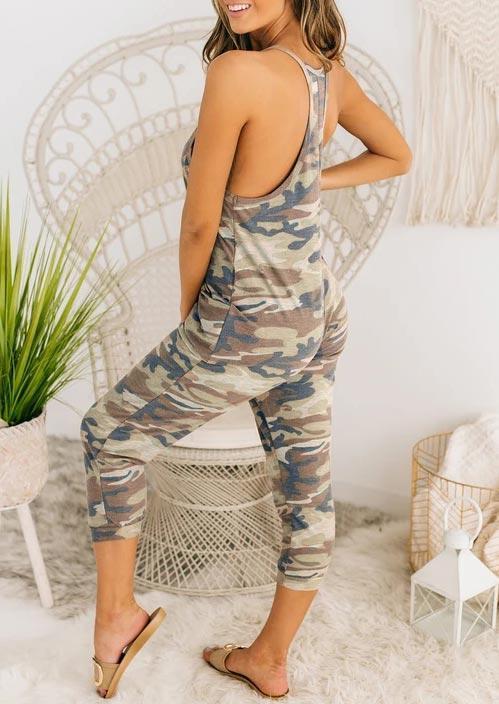 Camouflage Spaghetti Strap Pocket Jumpsuit