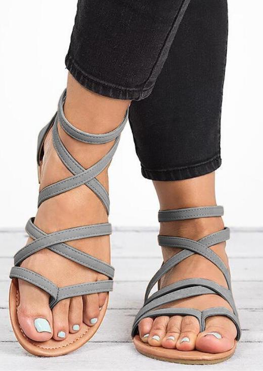 Summer Criss-Cross Zipper Buckle Strap Flat Sandals - Gray