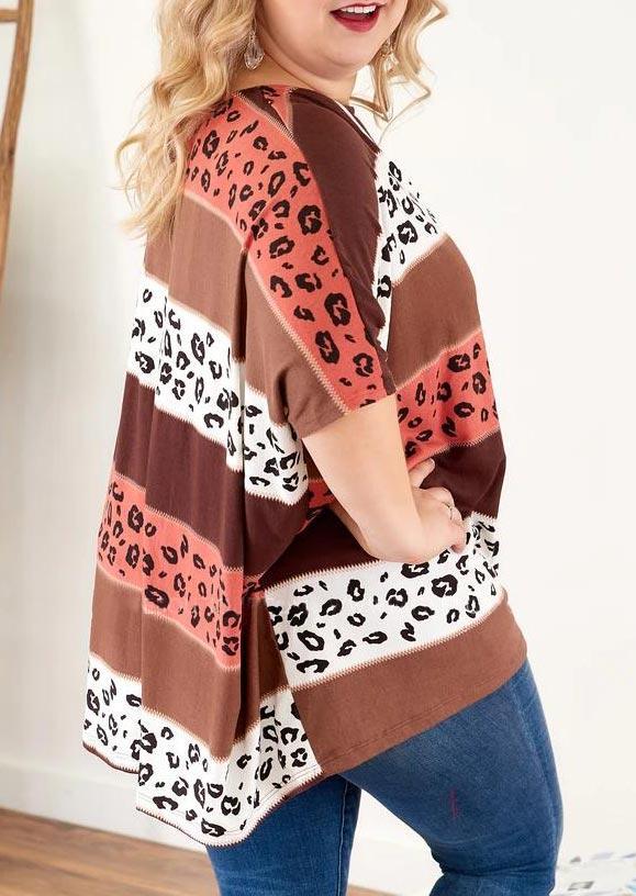 Plus Size Leopard Striped Color Block Blouse