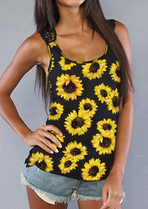 Sunflower Lace Splicing Open Back Tank - Black