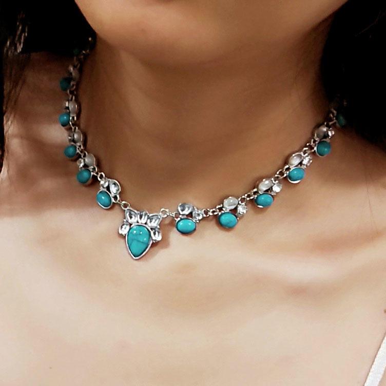 Bohemian Inlaid Turquoise Rhinestone Pendant Necklace