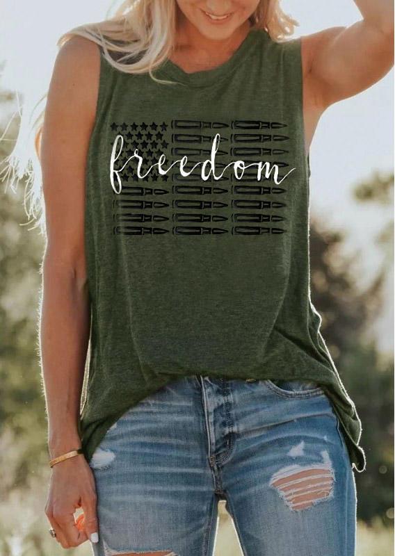Freedom American Flag O-Neck Tank - Army Green