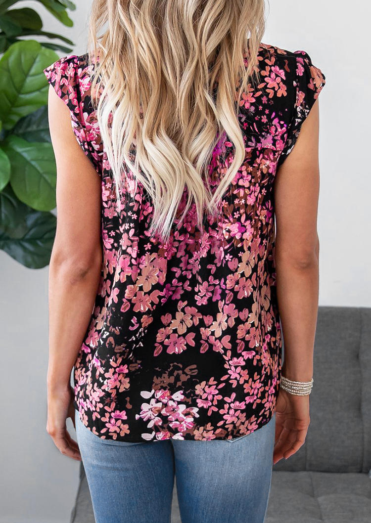 Ethnic Style Floral Splicing Blouse - Black
