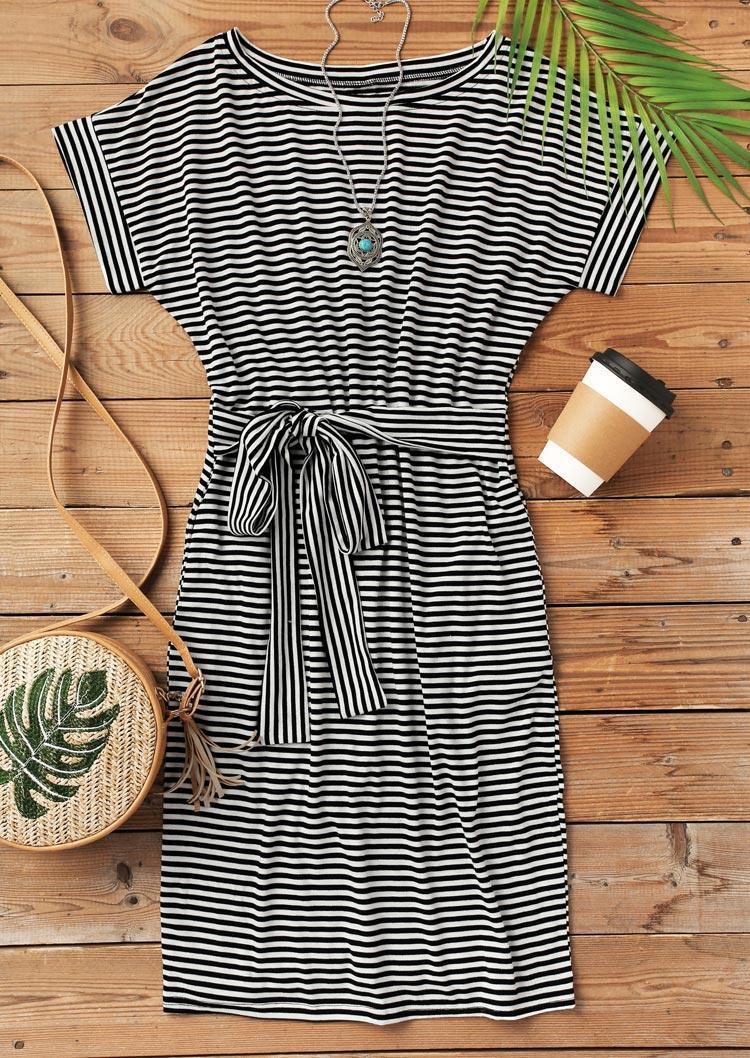 Striped Pocket Tie Mini Dress without Necklace - Black