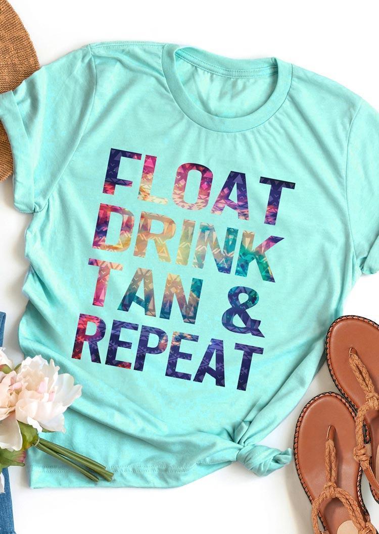 Float Drink Tan & Repeat Tank - Cyan
