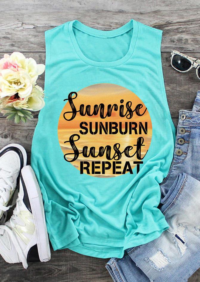 Sunrise Sunburn Sunset Repeat T-Shirt Tee - Yellow