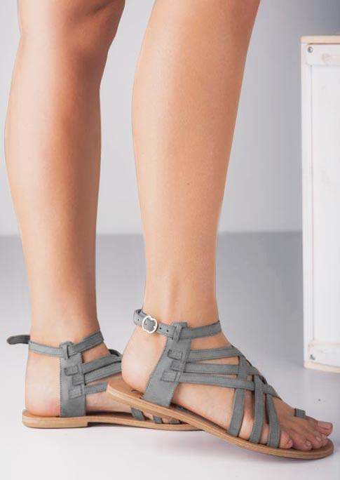 Criss-Cross Buckle Strap Toe Ring Casual Sandals - Gray