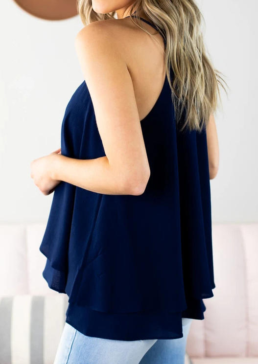 Hollow Out Button Layered Camisole - Deep Blue