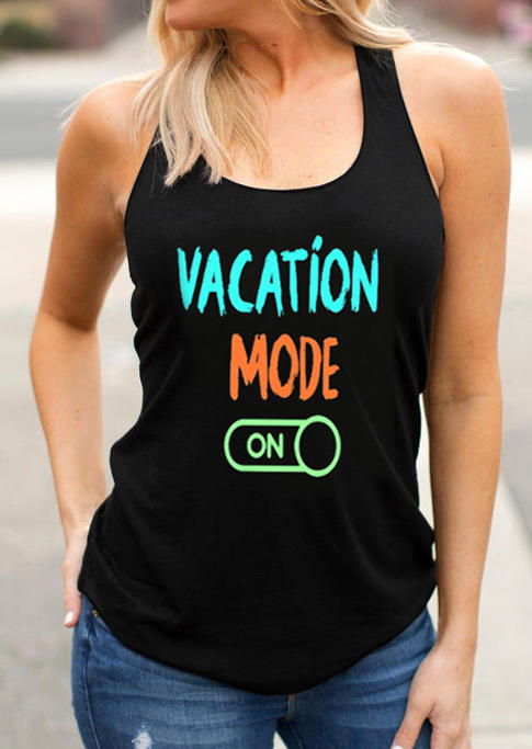 Vacation Mode On Casual Tank - Black