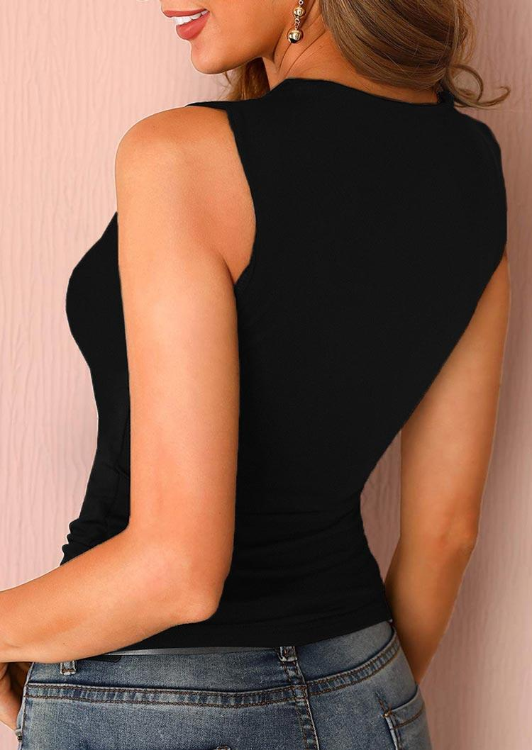 Hollow Out Sleeveless Casual Tank - Black