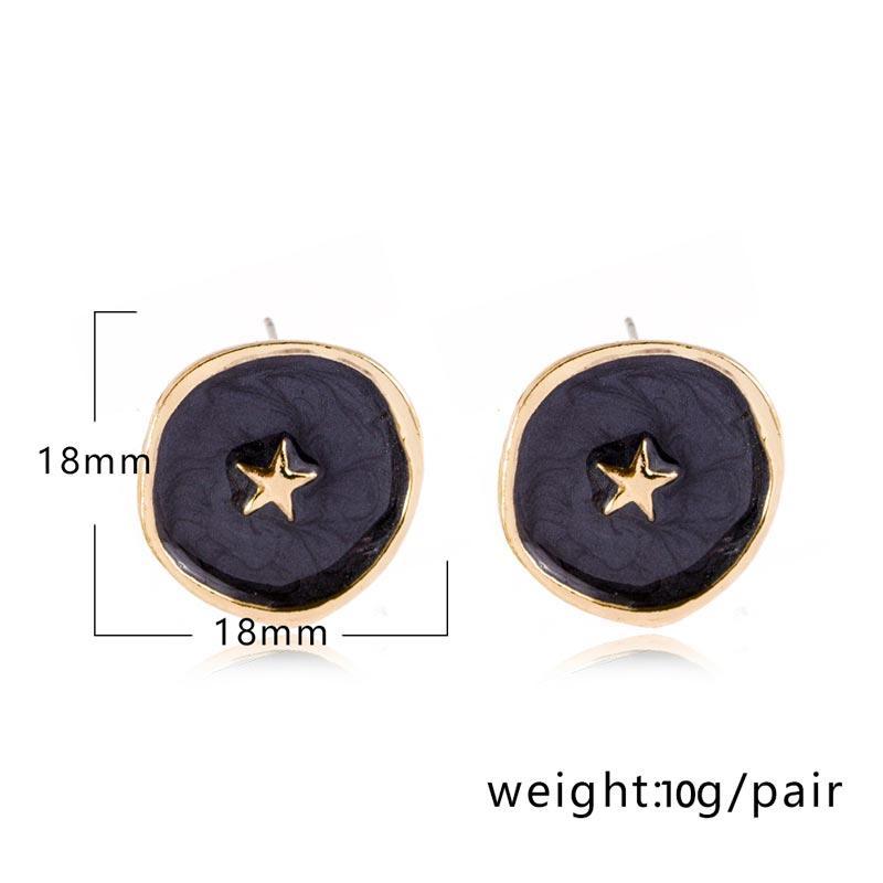 Oil Drop Star Moon Round Stud Alloy Earrings