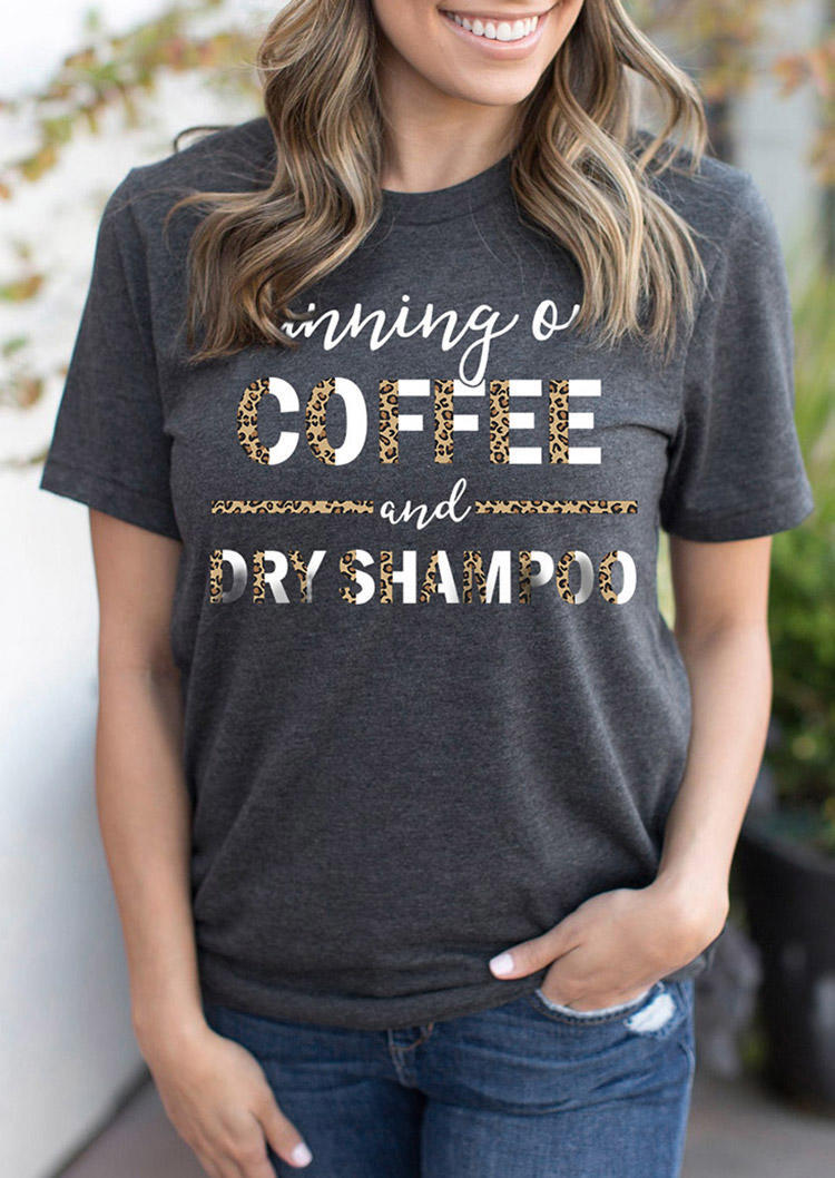 Leopard Sunning On Coffee T-Shirt Tee - Gray