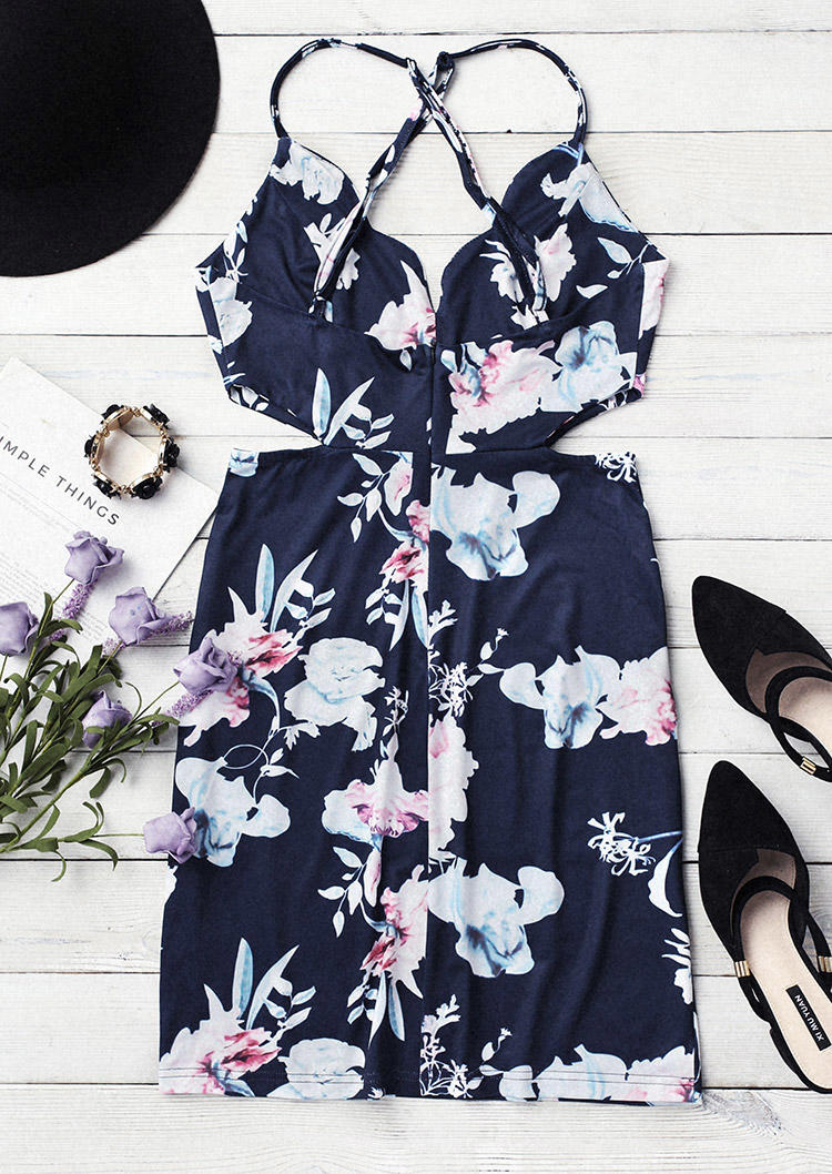 Floral Hollow Out Open Back Bodycon Dress - Navy Blue