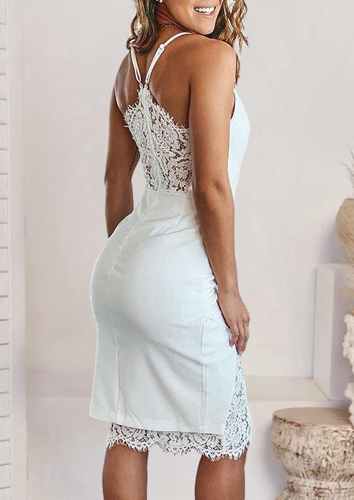 Lace Splicing Adjustable Strap V-Neck Bodycon Dress - White