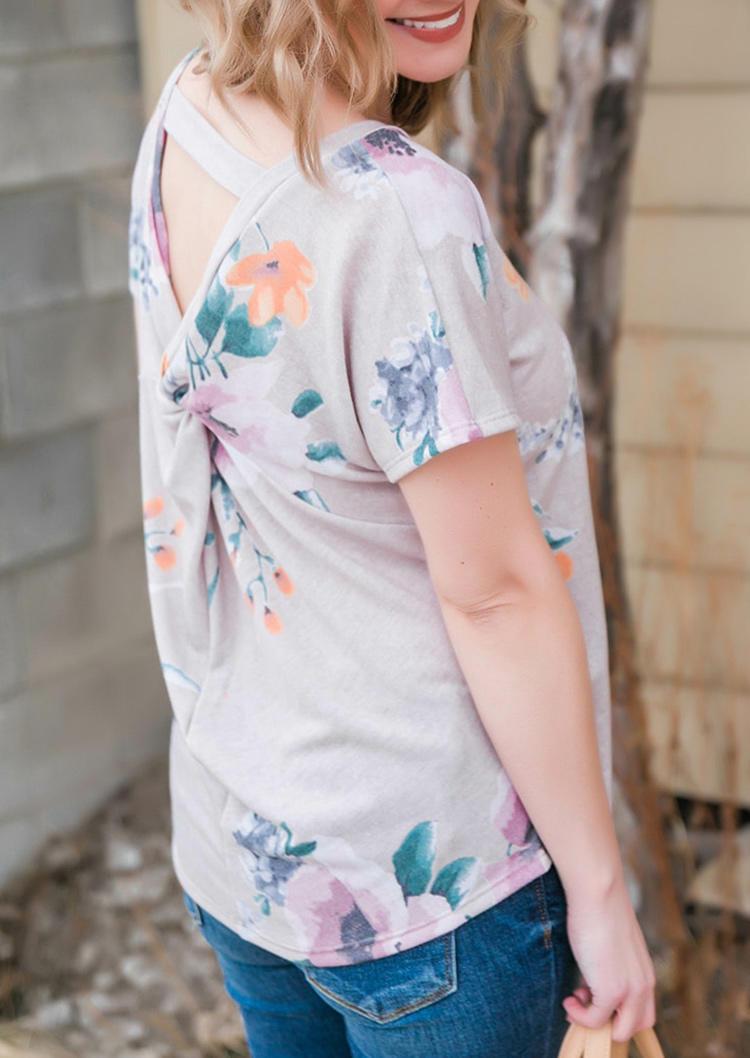 Floral Twist O-Neck Casual Blouse - Khaki