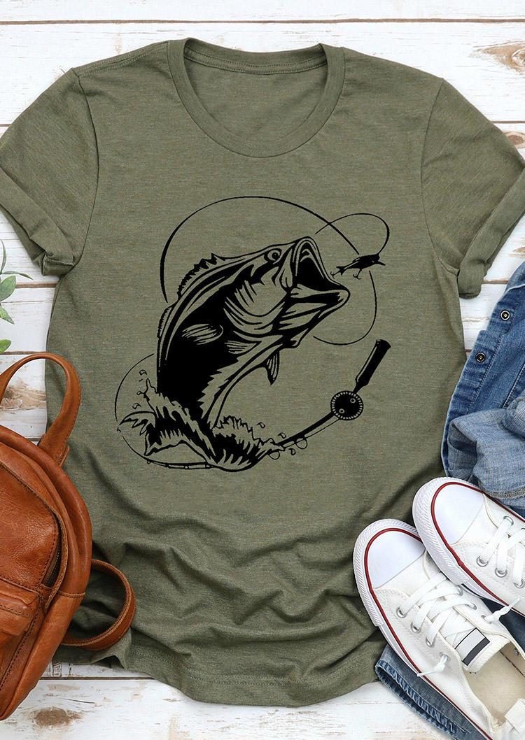 Bass Fishing O-Neck T-Shirt Tee - Army Green