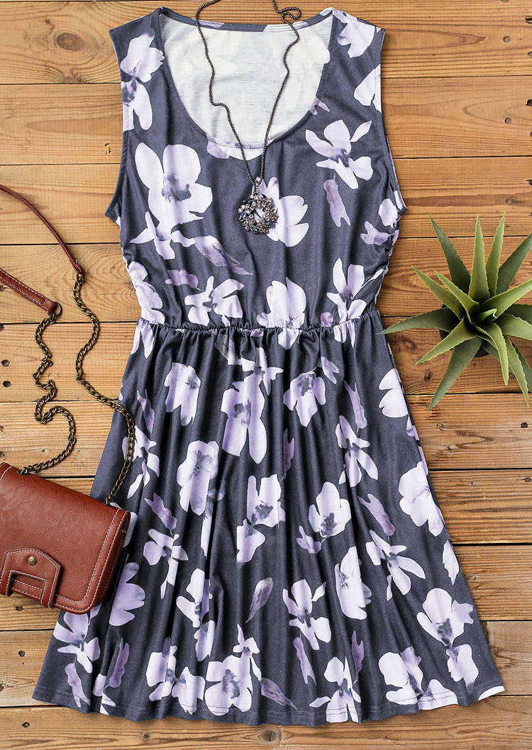 Floral Ruffled Pocket Sleeveless Mini Dress - Gray