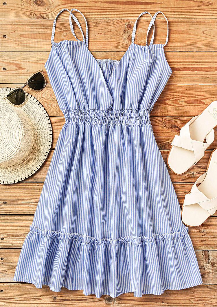Striped Ruffled Elastic Waist V-Neck Mini Dress