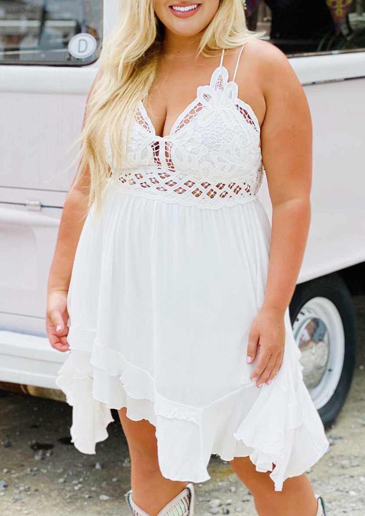 Plus Size Hollow Out Lace Spaghetti Strap Mini Dress - White