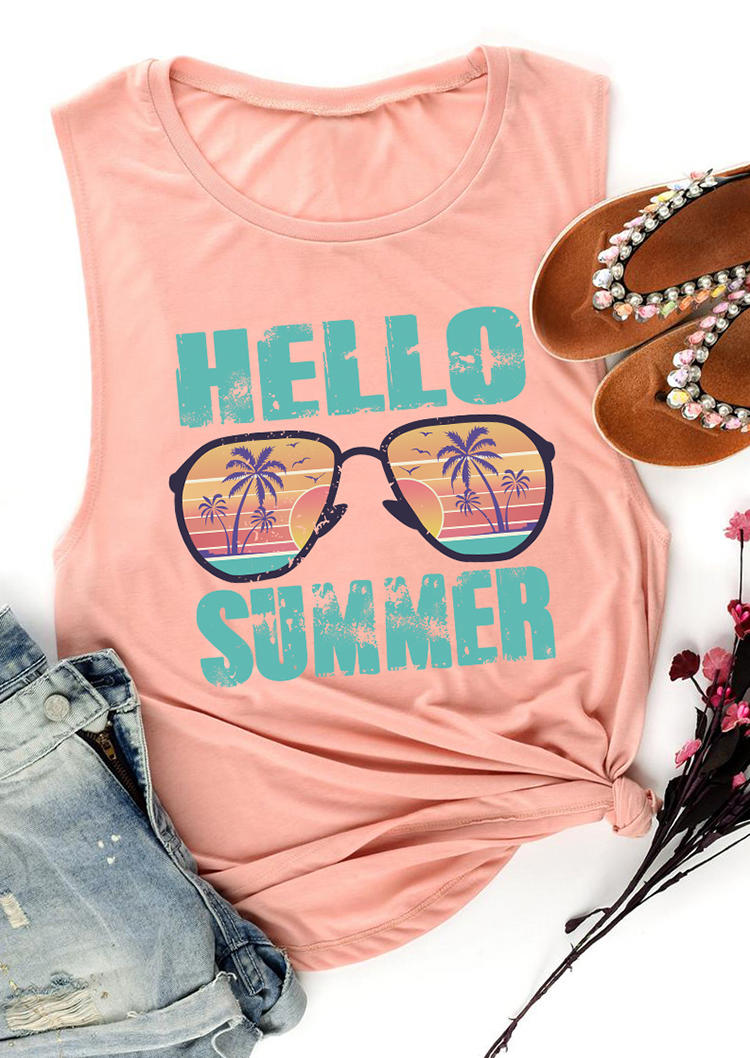 Hello Summer Glasses Casual Tank - Pink