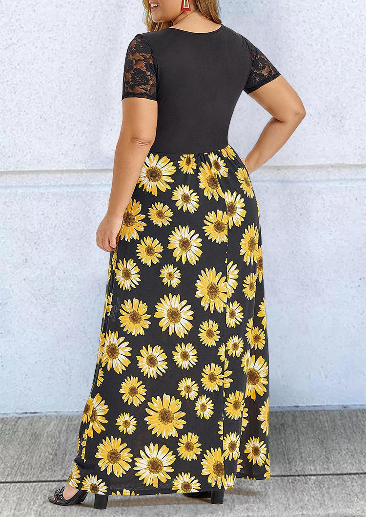 Plus Size Sunflower Lace Ruffled Maxi Dress - Black