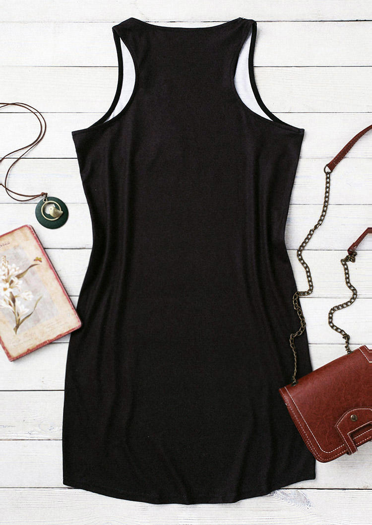 Cat And Sunflower Sleeveless Mini Dress - Black
