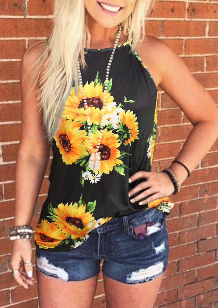 Sunflower Halter Casual Camisole - Black