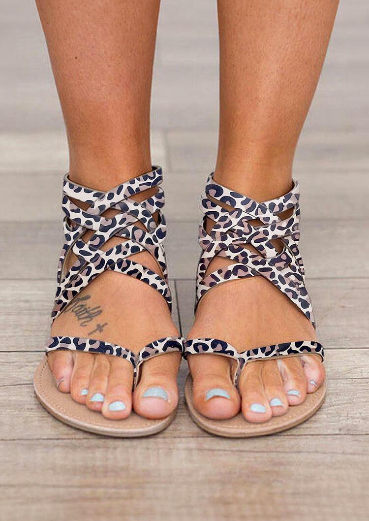 Summer Cross-Tied Zipper Flat Sandals - Army Green