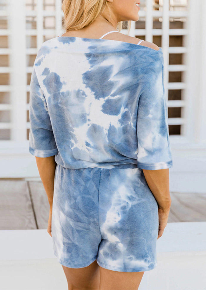 Tie Dye Blouse And Drawstring Shorts Two-Piece Set - Blue